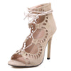 Gladiator Lace Up Sandal | High Heel | Suede | Ivory