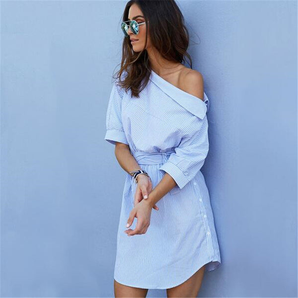 One Shoulder Shirt Dress | Reworked DIY Dress Shirt into Dress