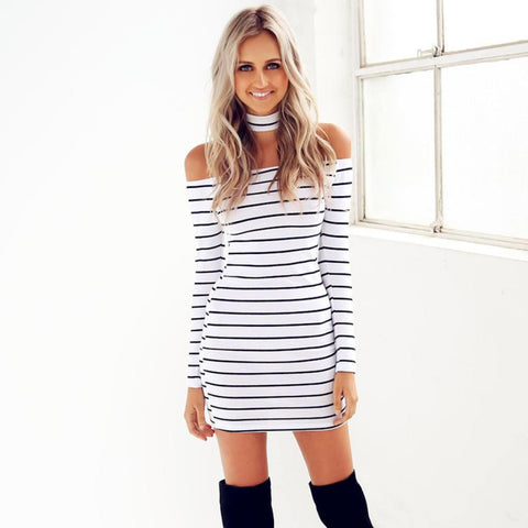 off the shoulder | striped dress | mini dress | casual mini dress | fall dress | neck cuff | knee high boots | trendy
