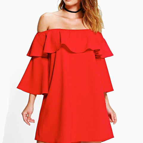 game day | dress | tunic | red and black | ruffle | off the shoulder | bell sleeves