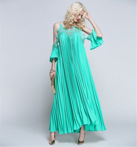 Hippie Chic Pleated Maxi Dress