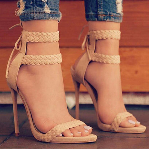 Double Strappy Stiletto High Hell | Tie Up Heel | Nude | Ivory