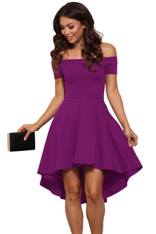 Hi Lo Off Shoulder Party Homecoming Dress | Purple | Cocktail Dress