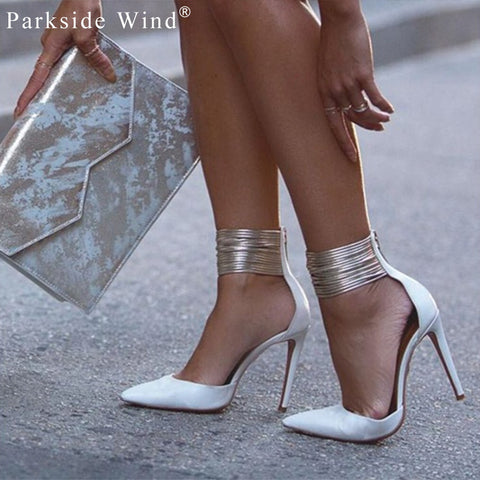Ankle Cuff Pointed Stiletto Heel | Zip Up | White
