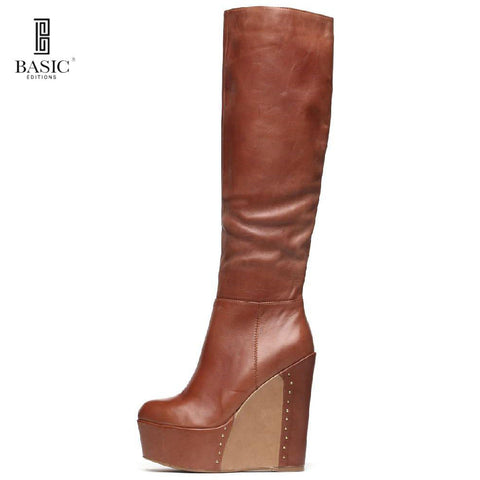 Tall Knee Height Platform Wedge Boot | All leather knee high boot | Brown