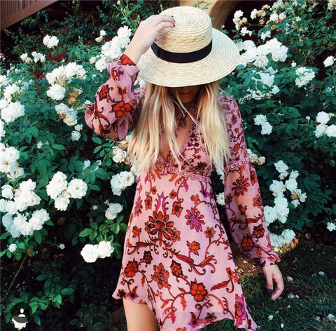 Dreamy Boho Chic Long Sleeve Floral Dress