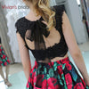 black and rose floral two piece dress homecoming fall