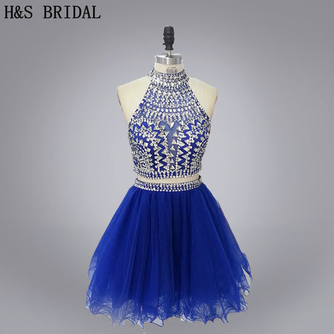 Two Piece Rhinestone Halter Homecoming Dress | Royal Blue