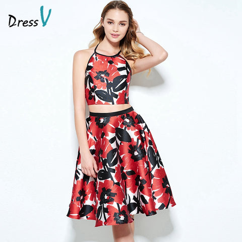 red and black formal homecoming dress | gown two piece floral | prom halter neck long skirt