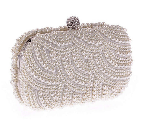 Elegant Pearl Deco Clutch Purse | Wedding Guest Purse | Prom Purse | Gala Purse | White