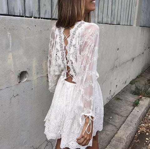 Boho Bride Bachelorette Romper | White Lace Summer Autumn Romper