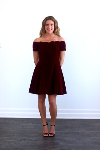 Vintage Burgandy Fall Velvet dress with scalloped top