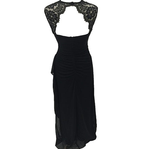 Black Scarlet Gown with Lace Shoulder Detail
