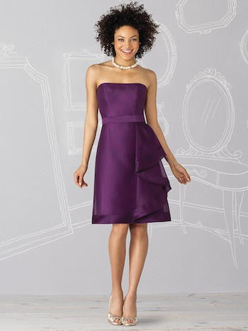 Strapless purple bridesmaid dress, cocktail length.