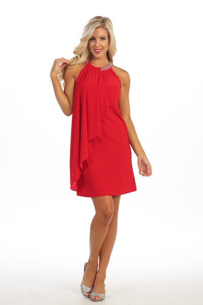 Flowing Red Cocktail Dress with Beaded Neckline