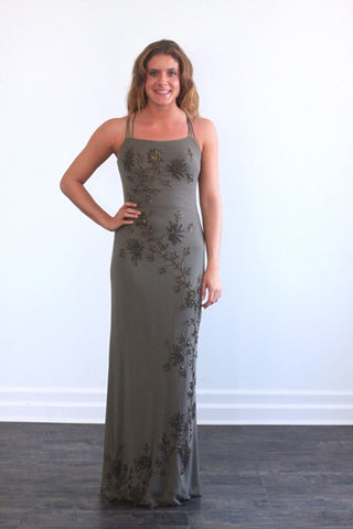 Caché Olive Green Beaded Formal Gown