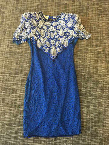 Laurence Kazar Blue Vintage Dress