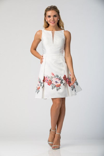 Off White Fit & Flare Party Dress with Floral Skirt