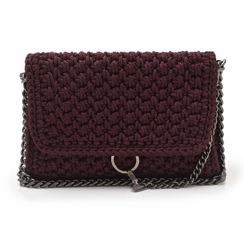 Crochet 'Link' Shoulder Bag - Burgundy