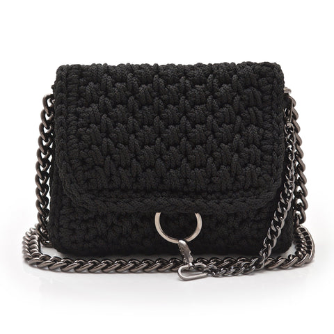 Crochet 'Link' Crossbody Bag - Black