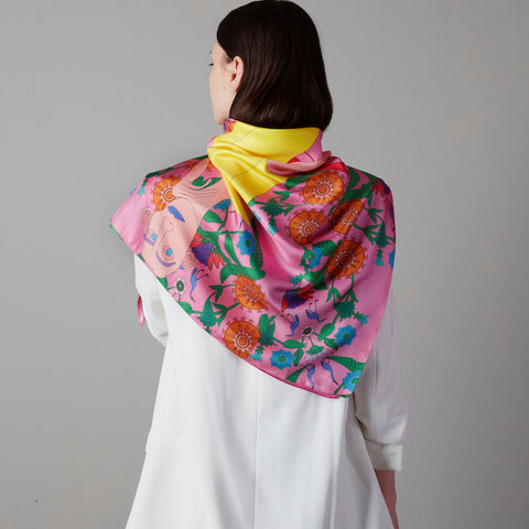 Illustrated Silk Scarf I Pink 90cm