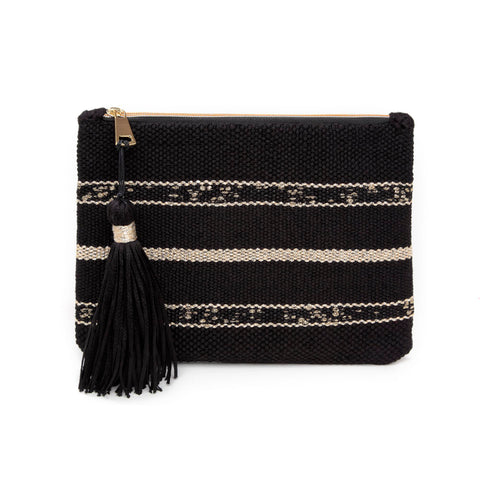 ATHENS I WOVEN LEATHER CLUTCH