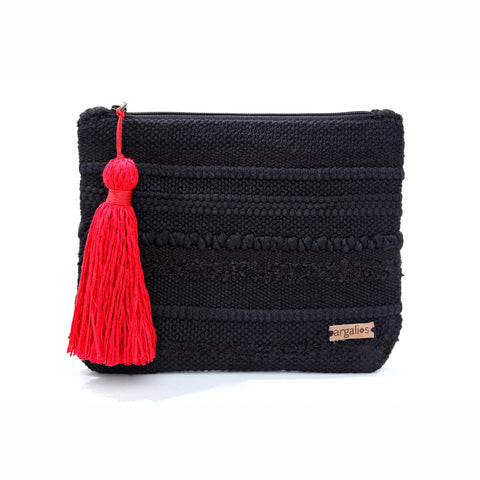 WOVEN/ LEATHER CLUTCH