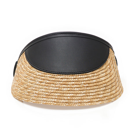 RAFFIA BLACK LEATHER I VISOR