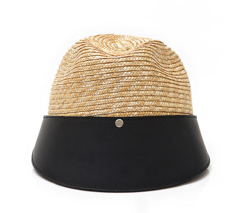 SPORTY LEATHER / STRAW CLOCHE HAT