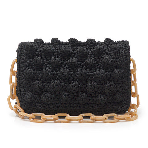 Crochet Shoulder Bag - Black