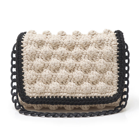 Crochet Shoulder Bag - Ivory/Black