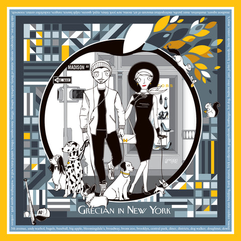 Hand illustrated Silk Scarf 'New York'