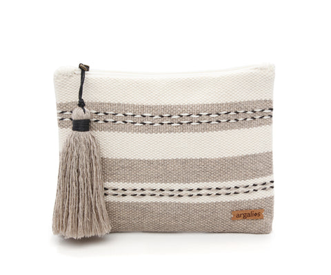 WOVEN/LEATHER CLUTCH