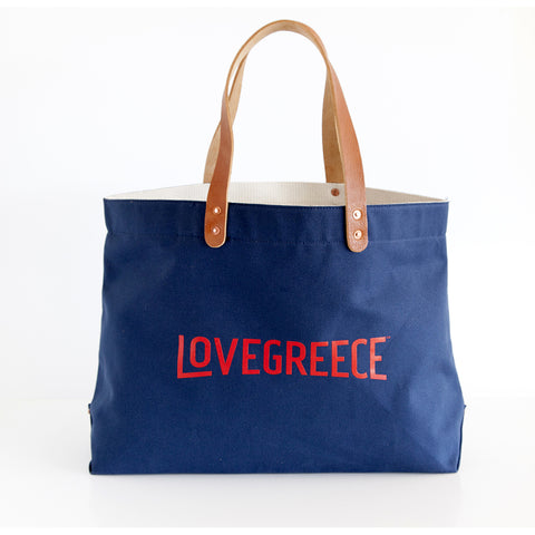 Canvas Tote Bag I Made in Greece I Blue