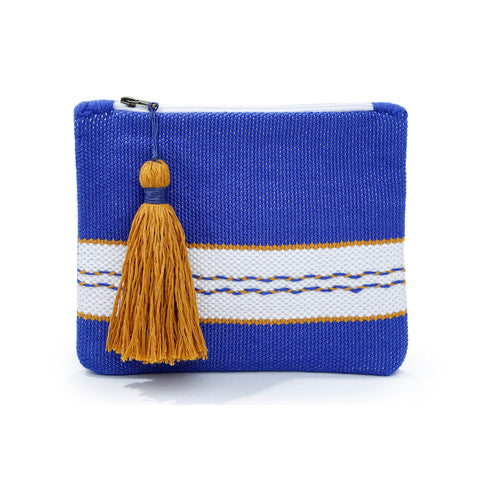 SANTORINI I WOVEN LEATHER CLUTCH