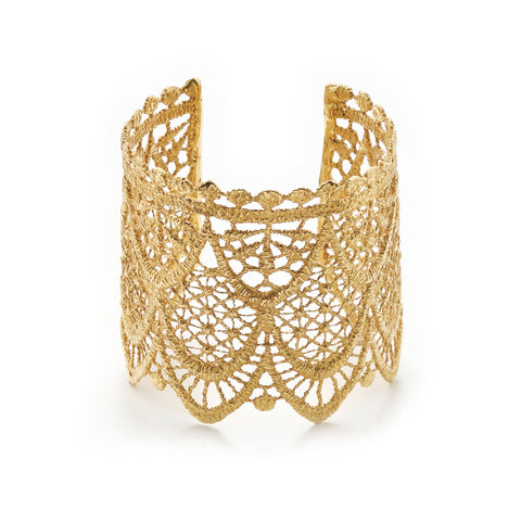 LACE ARROW 24K GOLD PLATED CUFF - SMALL