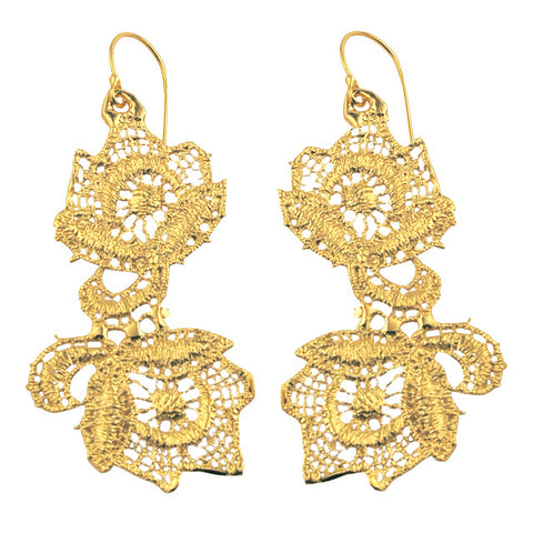 ANEMONE LACE 24K GOLD-PLATED EARRINGS