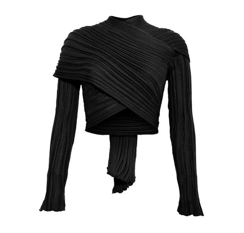BLACK I WRAP CARDIGAN