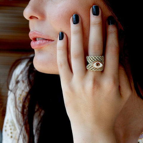 MACRAME GOLD EYE RING - Large
