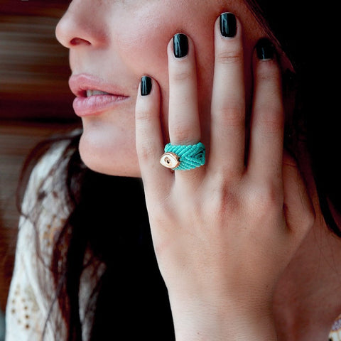 MACRAME TURQUIOSE EYE RING