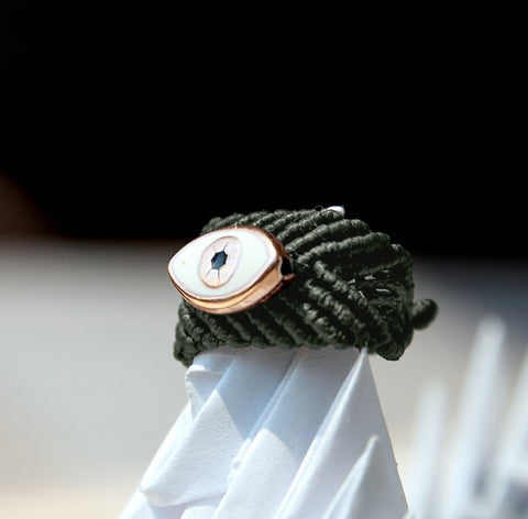 MACRAME EYE RING - Olive