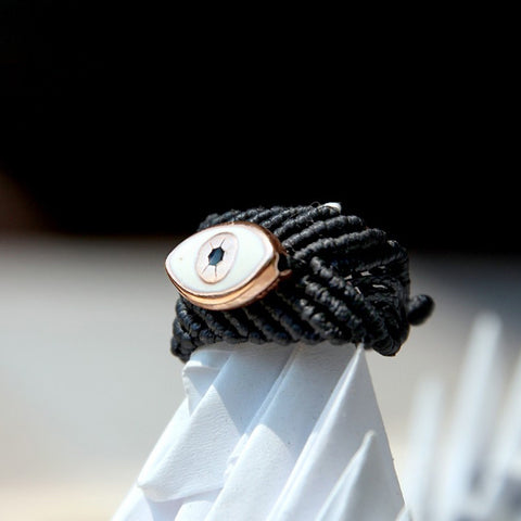 MACRAME BLACK EYE RING