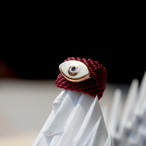 MACRAME EYE RING - BORDEAUX