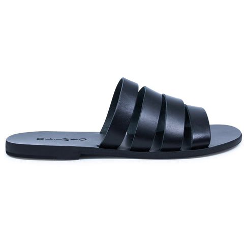 IRIS I BLACK LEATHER SLIDES