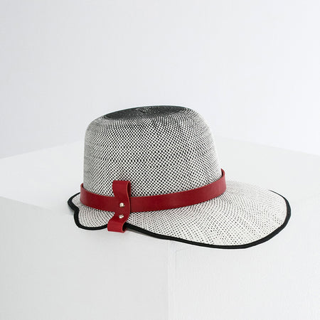 PAPER STRAW LEATHER HAT