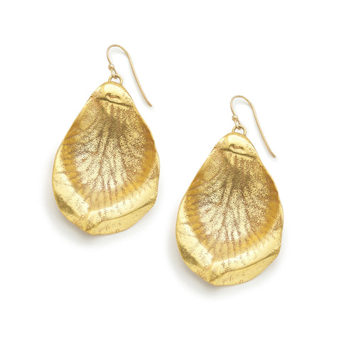 PETAL SOLID 24K GOLD PLATED EARRINGS - LARGE