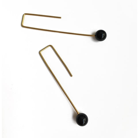 Onyx 18k gold-plated Angular Earrings