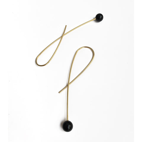 Stone Loop Earrings - Black