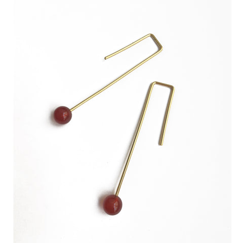 Agate 18k gold-plated Angular Earrings