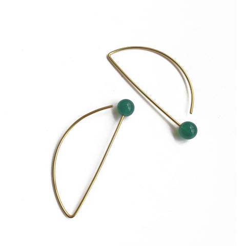 Stone Circle Earrings - Green